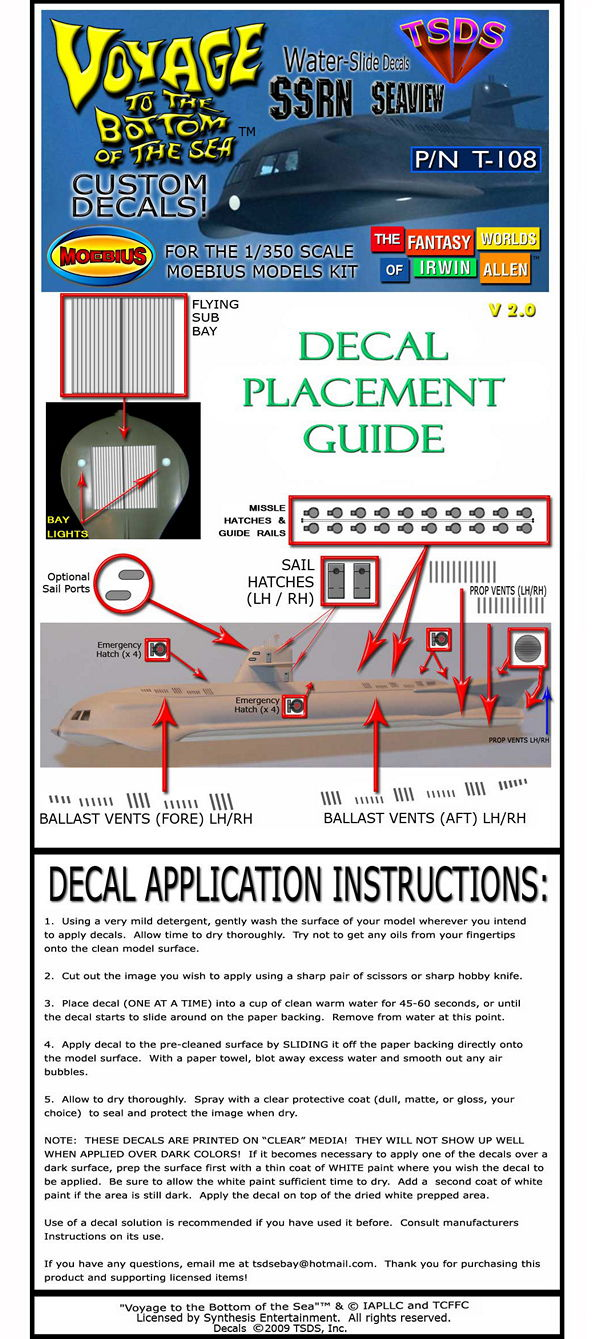 TSDS - MOEBIUS MODELS SEAVIEW DECALS (1/350 SCALE 14