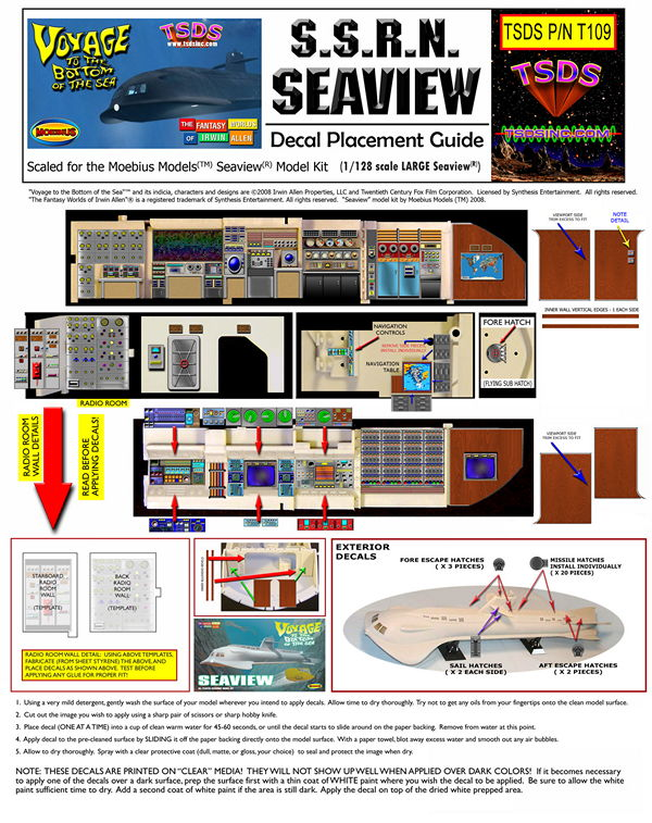 TSDS - MOEBIUS MODELS SEAVIEW DECALS (1/128 SCALE 39